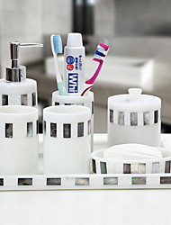 cheap -Bathroom Accessories Set, 7 Piece Resin Complete Bathroom Set, Includes Toothbrush Holder, Soap Dispenser, Soap Dish, Cotton Swab Cup, Tray, 2 Mouthwash Cup Holiday Bathroom Decoration Gift Idea
