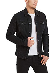 cheap -men's denim trucker jacket men's slim fit jean jacket stretch 1312black xs-32