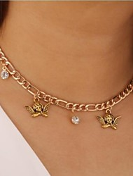 cheap -Women's Clear Cubic Zirconia Choker Necklace Necklace Drop Angel European Romantic Sweet Zircon Chrome Gold 30-60 cm Necklace Jewelry 1pc For Wedding Street Gift Birthday Party Festival