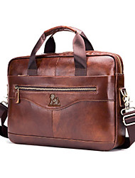 cheap -Men's Bags Cowhide 16inch Laptop Bag Briefcase Top Handle Bag Belt Zipper Solid Color Traveling Outdoor Office Business Leather Handbags Messenger Bag Dark Brown Black Coffee