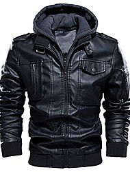 cheap -men's faux leather jacket winter warm fleece lined motorcycle bomber jackets with removable hood black