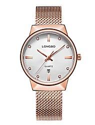 cheap -luxury women's rose gold metal mesh strap analog quartz business watch auto date calendar elegant watch waterproof rhinestone dial wristwatch for woman