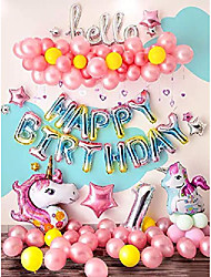 cheap -unicorn party supplies unicorn party decorations girl's 1st birthday decorations unicorn balloons set included 83 pcs with free air pump and tape