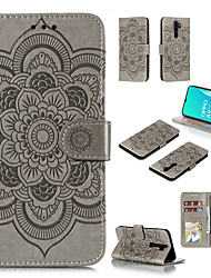 cheap -Phone Case For OPPO Full Body Case Leather Flip Reno 4 5G Reno 4 Pro 5G oppo A9 2020 OPPO A5 2020 Oppo A72 / A52 / A92 Oppo A8 / A31 Card Holder Flip Magnetic Flower / Floral Solid Color PU Leather