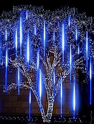 "cheap -2packs Meteor Shower Rain LED String Light 30cm 11.8"" 16 Tubes 384 LEDs Falling Rain Drop Icicle Christmas Tree Wedding Fairy Light Street Holiday Decoration"