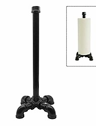 cheap -rustic industrial standing pipe paper towel holder, kitchen tissue holder countertop for kitchen & bathroom, simply tear roll contemporary paper towel holder napkin towel hold, black