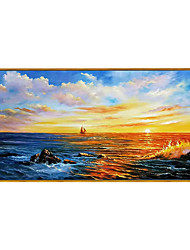 cheap -Oil Painting Hand Painted Horizontal Panoramic Abstract Modern Rolled Canvas (No Frame)