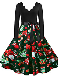 cheap -Christmas Dress Women Long Sleeve Xmas EIK Tree Printed Dress A-line Vintage Cocktail Holiday Party Dress