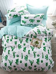 cheap -Cactus Print 3-Piece Duvet Cover Set Hotel Bedding Sets Comforter Cover with Soft Lightweight Microfiber ,Full/Queen/King(Include 1 Duvet Cover and 1or 2 Pillowcases)