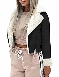 cheap -short faux shearling bomber jacket women's lapel suede leather buckle lamb motorcycle jackets coat by-newonesun black