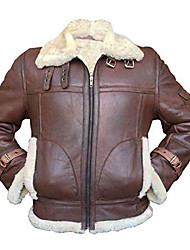 cheap -mens b3 raf aviator pilot sheepskin bomber flying fur shearling brown leather jacket