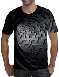 cheap -Men's 3D Graphic Plus Size T-shirt Print Short Sleeve Daily Tops Elegant Exaggerated Round Neck Black