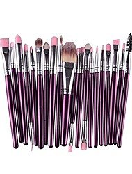 cheap -zentto 20 pcs makeup brush set synthetic face eye shadow eyeliner foundation blush lip powder liquid cream blending makeup brush kit cosmetics tool-purplr+silver