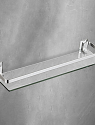 cheap -Space Aluminum Bathroom Shelf Solid Alloy with Thickened Tempered Glass Rectangular Bathroom Rack Wall-mounted