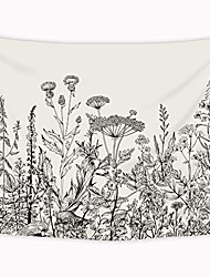 cheap -wild floral tapestry 80x60 inch botanical black and white herbs plant nature tapestry flower blossom leaf sketch wall hanging indigenous bedroom living room