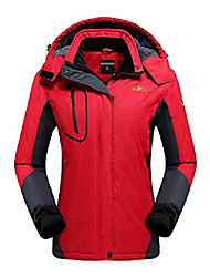 cheap -women's waterproof ski jacket fleece windproof mountain winter snow jacket warm outdoor sports rain coat with removable hood u220wcfy029,red,l