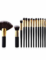 cheap -2018 15pcs high-end professional makeup brushes set powder blush foundation eyeshadow make up fan brushes cosmetic kwasten sets,black gold tube