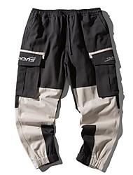 cheap -Men's Sporty Outdoor Tactical Cargo Cotton Slim Daily Pants Multi Color Full Length High Waist Gray Dark Gray / Drawstring