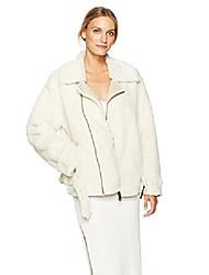 cheap -jeans women's faux shearling biker jacket, almond powder, x-small