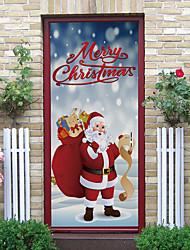 cheap -Santa Claus Self-adhesive Creative Door Sticker Living Room DIY Decoration Home Waterproof Wall Sticker