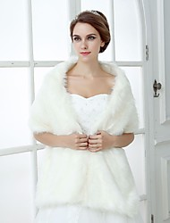 cheap -Short Sleeve Shawls Faux Fur Wedding Women's Wrap With Solid