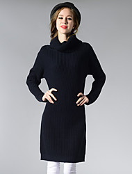 cheap -Women's Sweater Jumper Dress Knee Length Dress - Long Sleeve Solid Color Fall Casual 2020 White Black Blue Wine Camel Green Light gray Beige One-Size