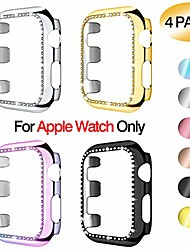cheap -[4-pack]  case For iWatch Apple Watch Series SE / 6/5/4/3/2/1  44 mm 40 mm 38 mm 42mm screen protector, shiny bling diamonds protective cases cover pc plated bumper frame for iwatch series