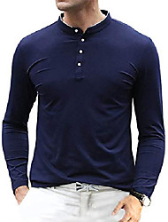cheap -men's casual slim fit shirts pure color long sleeve polo t-shirts (x-large, blue)