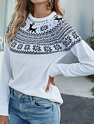 cheap -Women's Christmas Knitted Geometric Pullover Acrylic Fibers Long Sleeve Sweater Cardigans Crew Neck Fall White