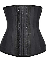 "cheap -women's waist trainer for weight loss control trimmer slimmer belt latex corset cincher body shaper (black(25 steel bones),l(waist 30""-31""))"