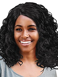 """cheap -brazilian curly wigs for african american black women,afro kinky lace front wig heat resistance synthetic fiber 16"""" black"""