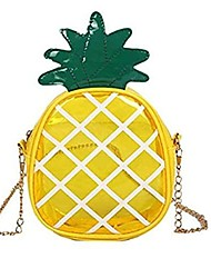 cheap -pineapple messenger bag,small fruit shaped crossbody bag,transparent jelly package mini shoulder bag with chain,convenient handbag for female/ladies/girls, 17cm