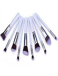cheap -10 pcs makeup brush pro kits brushes white