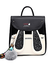 cheap -Women's Girls' PU School Bag Commuter Backpack Large Capacity Sequin Character School Outdoor Black Blushing Pink Green