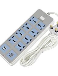 cheap -Smart USB Power Strip 10A Fast Charging 4 USB Extension Socket 8 Standard Socket Adapter 2500W UK Plug