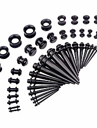 cheap -50 pcs 14g-00g ear stretching kits acrylic tapers plugs & silicone tunnels gauges expander set body piercing jewelry, black