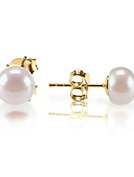 cheap -sterling silver freshwater cultured stud pearl earrings - 9.5mm aaa quality