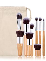 cheap -Factory direct sale 11 bamboo handle makeup brushes linen bag makeup brush set eye shadow brush beauty tool