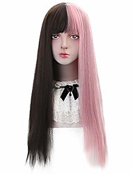 cheap -half pink half black wig with bangs long straight cosplay wigs for women