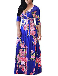cheap -womens long sleeve floral printed faux wrap self-tie swing maxi bohemian dress plus size blue