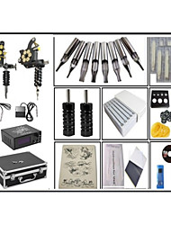 cheap -Fine steel casting Large coil 10 layers of copper wire 2 Machines Tattoo Kit w/ Power Supply 50 tattoo needles 100 Ink cup