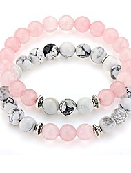 "cheap -long distance couples bracelets 8mm howlite & natural stone beads 2 pieces, 7.5"" pink"