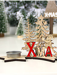 cheap -Christmas Decorations Wooden Painted Diy Christmas Candle Holder