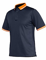 cheap -men's button turn-down collar striped basic pique polo shirt navy blue