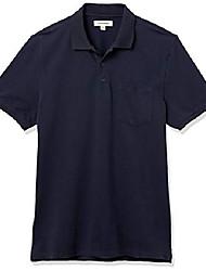 cheap -amazon brand - men& #39;s soft cotton stretch pique polo, navy, medium