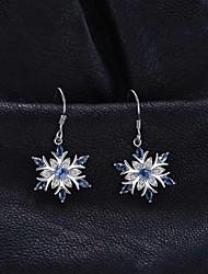 cheap -Women's AAA Cubic Zirconia Hanging Earrings Petal Korean Cute Earrings Jewelry Silver For Date Beach 1 Pair