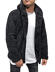 cheap -mens sherpa fleece fuzzy hoodie jacket open front cardigans coat with pockets black