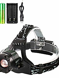 cheap -rechargeable headlamp 18650 adjustable waterproof led zoomable brightest led headlamp with 2pc 18650 batteries and charger for camping running hiking outdoors
