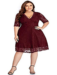 cheap -women lace v neck plus size cocktail dress knee length bridal wedding casual party red 16 plus=16w