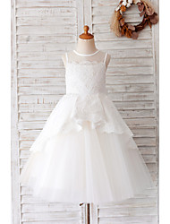 cheap -Ball Gown Knee Length Wedding / Birthday Flower Girl Dresses - Lace / Tulle Sleeveless Jewel Neck with Bow(s) / Appliques